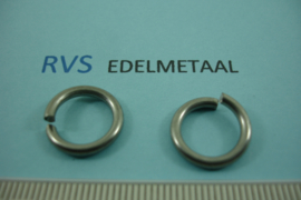 [ 8484 ]  RVS mat, Open Ring 14 mm. x 2.1 mm.  per 15 stuks