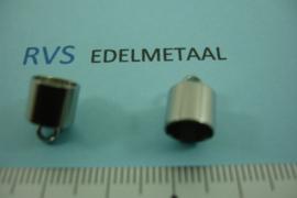 [ 8424 ]  RVS,  Eindkap 7 mm. inw., per 4 stuks