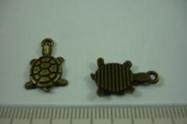 [ 1239 ] Schildpadje  18.6 x  12.1 mm. Brons, per stuk