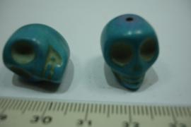 [ 7101 ] Doodshoofd kraal 18 mm. Howliet, Turkoois