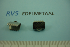 [ 8433 ]  RVS,  Lintklem 8 mm.  per 8 stuks