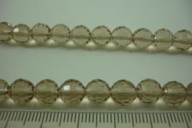 [ 8463 ] 8 mm. Glas kraal, Taupe kleur, per streng
