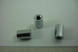 [ 6448 ] Metaal Tube kraaltje 8.6 mm. Zilver kleur, per stuk