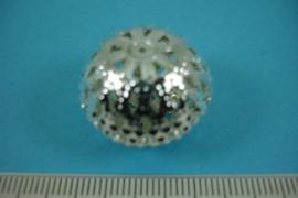[ 6817 ] Filigrein kraal 18.5 x 22.5 mm. Verzilverd, per stuk