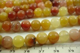 [ 8635 ] Gele Jaspis  8 mm.  per streng 39 cm.