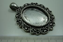 [ 0855 ] Cabochon houder ovaal 40 x 32 mm. Oud Zilver, per stuk