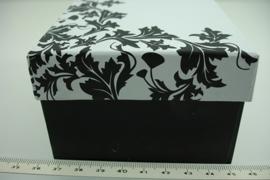 *[ 9249 ] Horloge/Armband doosje 9 x 9 cm. Zwart/ Wit, per stuk