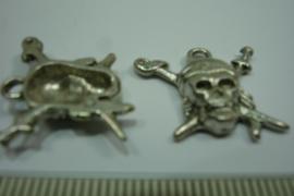 [ 0419 ] Doodshoofd bedel 20 mm. zeeman, Crome kleur metaal, per stuk