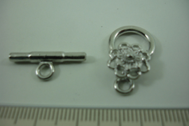 [ 6964 ] Kapittel slot 22 mm. x 14 mm. met Zeeuwse knoop, Verzilverd, per set