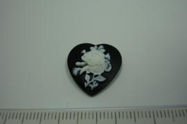 [ 0877 ] Cabuchon Bloem, Hartje 18 x 18 mm. Zwart/Wit, per stuk