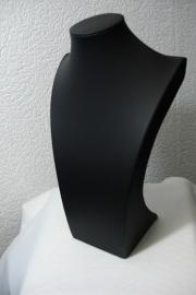 *[ 9250 ] Hals Luxe Zwart Leer, Groot 34 cm.