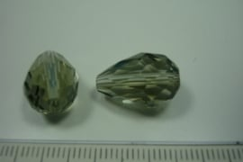 [ 5985 ] Glas Druppel 18 x 12 mm. Rook kleur . per stuk