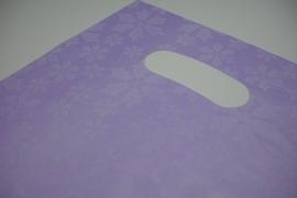[ 8252 ] Tas 25 x 20 cm. Paars met sneeuw bloem, 100 stuks