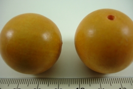 *[ 6637 ] Houten Kraal 30 mm. Oranje/Geel, per stuk