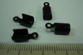 [ 6393-B ] Veterklemmen 5 mm. Git zwart, per 4 stuks
