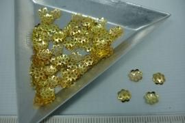 [5445 ] Kralen kapje 5 mm. Goudkleur, +/- 80 stuks