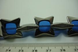 [ 6470 ] Glas kraal Ster 18 mm. Blauw met Zilverrand, 18 stuks