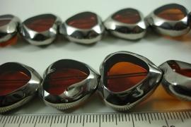 [ 6479 ] Glas kraal 20 mm. Hartje Bruin met Zilverrand, 15 stuks