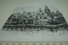 *[ 8264 ] Papieren zakjes 13.5 x 19 cm. Gevel Huisjes, 50 stuks