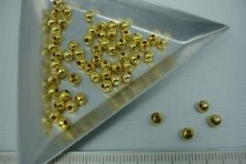[5406 ] Metaal Kraaltje 4 mm. Goudkleur, +/- 60 stuks