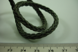 [ 7017 ] Echt Leer 5 mm. Vierkant gevlochten, D. Grijs, per meter