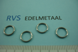 [ 8417 ] RVS,  Open ring 8 mm. x 1 mm. per 50 stuks