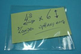 [ 5991 ] Cellofaan zakjes 4.8 x 6 cm. Blank met plak strip, per 100 stuks