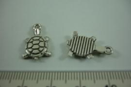 [ 1264 ] Schildpadje  18.7 x 12.3 mm. Zilverkleur, per stuk