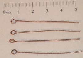 (5104) Kettelstift 45 mm koperkleur. 60 stuks.