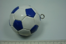 *[ 5641 ] Voetbal Wit Blauw, 40 mm.