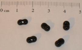 (5204) Duo rocailles zwart glans nr. 29. 50 stuks.