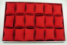 *[ 9243 ] 18 Vaks Alluminium bak Rood met kussentjes, per stuk