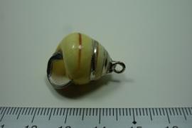 [ 0138 ] Schelp hanger, Geel 27 mm.