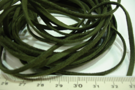 [ 5992 ] Suede Veter 3 mm. Leger Groen, 5 meter