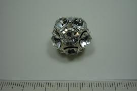 [ 0821 ] Strass bal 20 mm. Verzilverd, per stuk