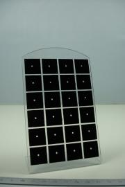 *[ 9225 ] 24 x één gats Oorbelstandaard, Zwart met heldere rand