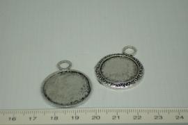 [0323 ] Cabochon houder Chroom metaal  26 mm.