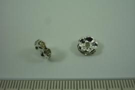 [ 1316 ] Rondel 8 mm. Zilverkleur met Kristal helder, per stuk