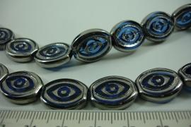 [ 6490 ] Glas kraal Ovaal 17 x 14 mm. Blauw met Zilverrand, 19 stuks