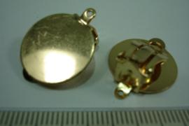 [ 0669 ] Oorclip Goud, plaat 18 mm. met oogje, per paar