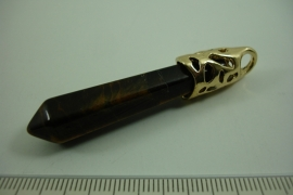 [ 1059 ] Pendel+/- 6 cm. natuursteen Tijgeroog. per stuk