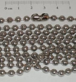 (0161) Balletjes ketting chroome 4,5 mm met slotje.
