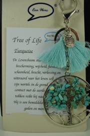[ 6848 ] Sleutel/Tas hanger Levensboom, Turquoise