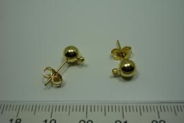 [ 5900 ] Oorbel steker, 6 mm. bal en oogje, Goudkleur, per paar