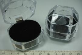 *[9063 ] 1 Rings doosjes, 4.5 x 4.5 x 4.5 cm. Zwart kussentje, per stuk