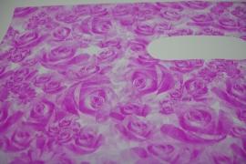 *[ 8230 ] Tas 40 x 30 cm. Roze met Bloem, 100 stuks