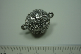 [ 0814 ] Magneetslot 16 mm. met strass, Chroomkleur, per stuk
