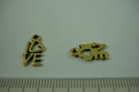 [ 1230 ] Love bedel  14.3 x 8 mm. Goudkleur, per stuk