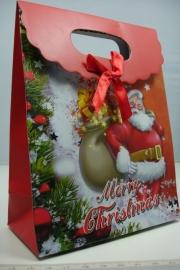 *[ 5956 ] Kerst Tasje  12.5 x 16 cm. Kerstman Luxe kado, per stuk