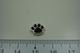 [ 8295 ] Honden pootje  9 x 8 mm. Zwart,  per stuk